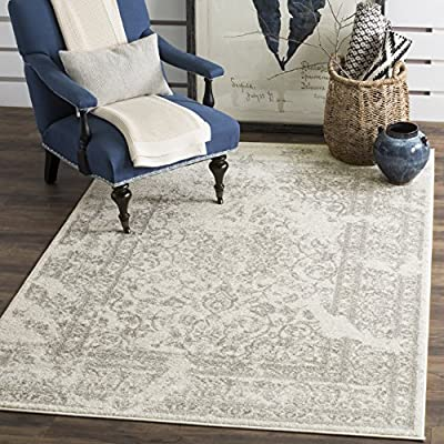 Safavieh Adirondack Collection ADR101A Silver Black Oriental Vintage Distressed Runner - Construction Power Loomed; Country of orgin Turkey Fiber/Finish Polypropylene Pile Backing No Backing - living-room-soft-furnishings, living-room, area-rugs - 61eYUGhVkgL. SS400  -