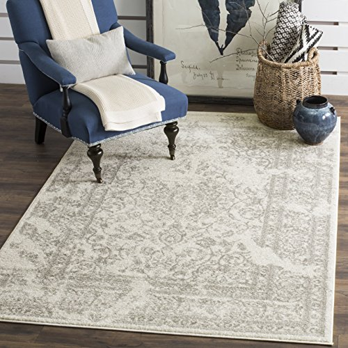 Safavieh Adirondack Collection ADR101B Ivory and Silver Oriental Vintage Distressed Area Rug (10' x 14') - Ivory Rug Black Rug