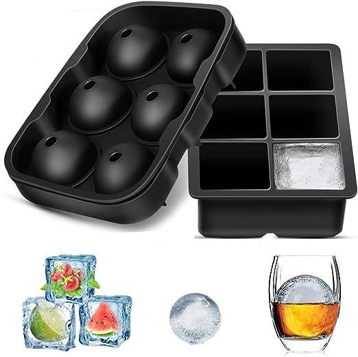 HMILYDYK Molde de silicona para cubitos de hielo con tapa ...