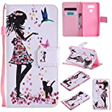 LG G6 Case,XYX [Woman and Cat] - [Kickstand][Card Slot] Fashion PU Leather Magnet Wallet Flip Case Cover for LG G6 H871 H872