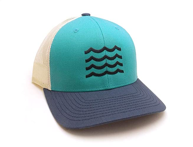 2408b6013f92d Amazon.com  Trucker Hat - Waves - Pre-Curved Classic Snapback Trucker Hat   Handmade