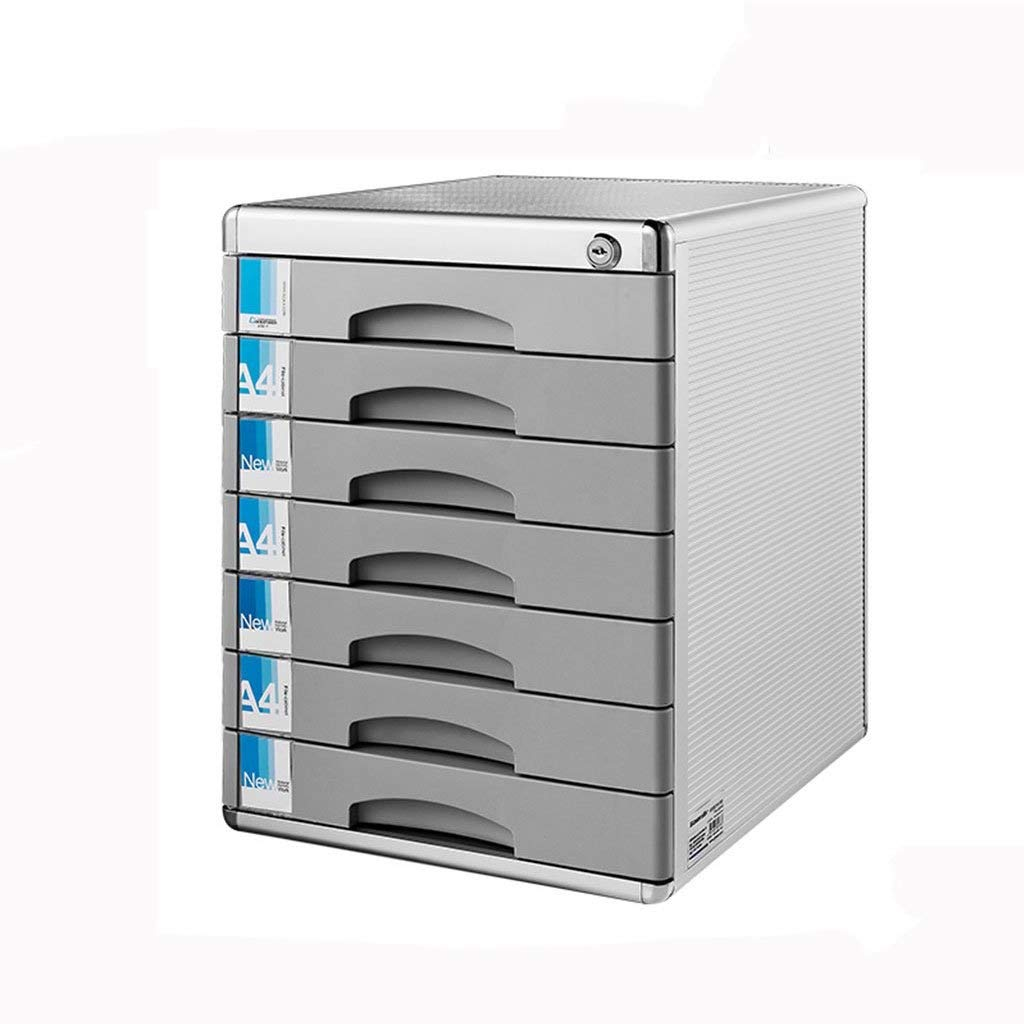 Desktop File Cabinet Lockable Aluminum Alloy Data Office Storage Drawer Filing Cabinet Confidentiality with Lock Flat File Cabinets (Color : 7 Layers)