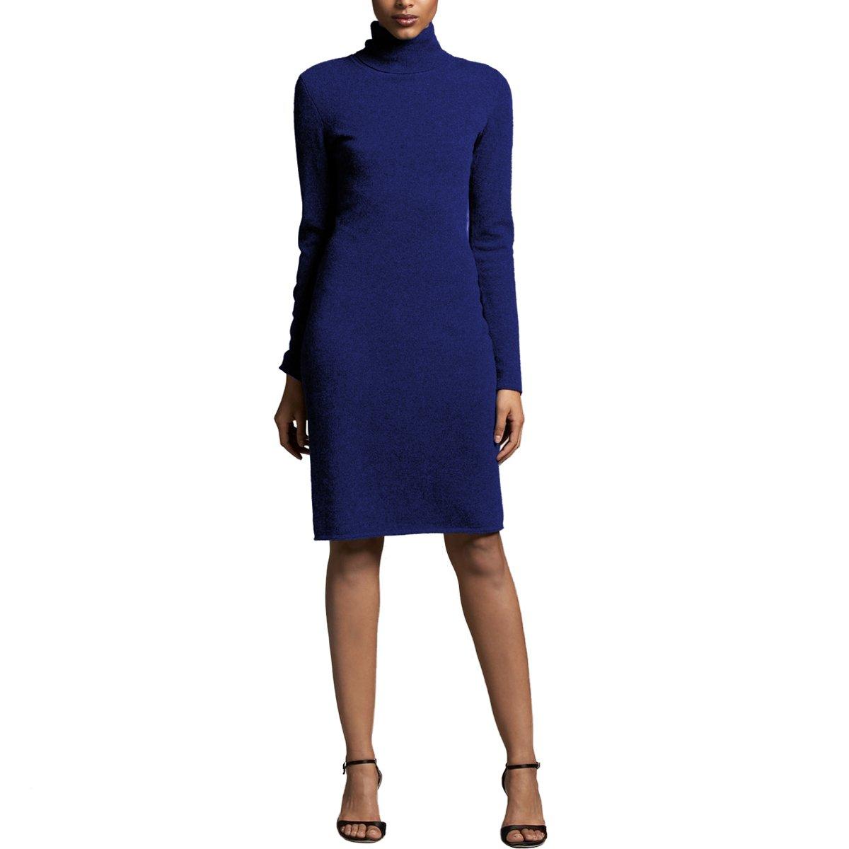Parisbonbon Women's 100% Cashmere Turtleneck Dress Color Dark Blue Size XS