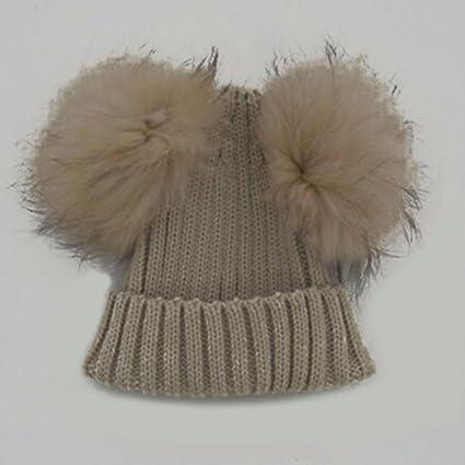 Gorro de lana para niños con doble pelota de pelo 8c71f34858f
