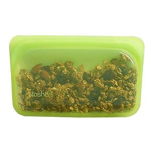 Stasher Reusable Silicone Food Bag, Snack Bag, Storage Bag, Lime