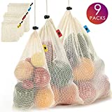 Reusable Cotton Mesh Produce Bags - Durable Grocery Bags with Tare Weight on Tags Eco Friendly Cotton Produce Bags for Vegetable Shopping & Storage