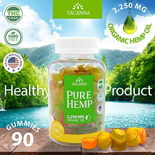 Natural Hemp Gummies - Ultra Volume 2250Mg - 90pcs - Premium Hemp Extract - Relieve Stress, Pain and Anxiety - Omega 3, 6, 9 - Made in USA (90)