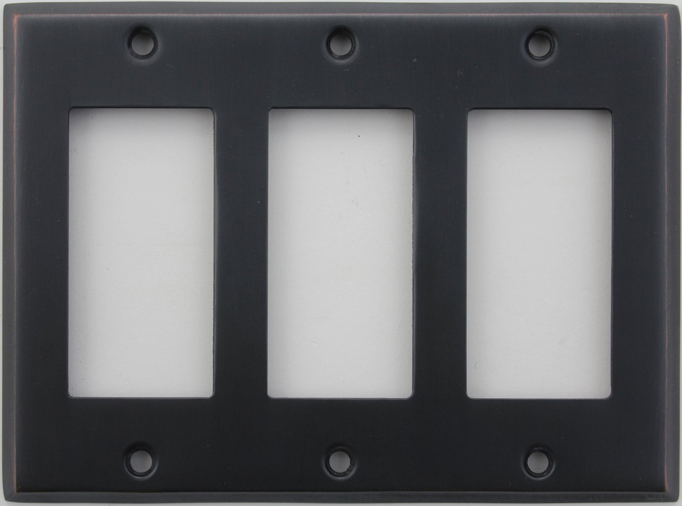 Classic Accents Stamped Steel Oil Rubbed Bronze Three Gang GFI/Rocker Opening Wall Plate