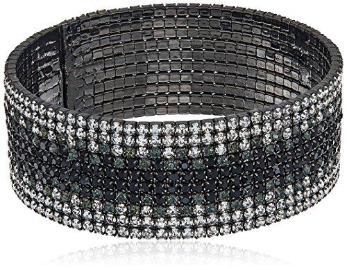 Anne Klein Hematite-Tone Black Diamond Ombre Cuff Bracelet