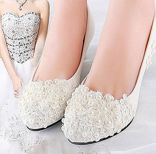 JINGXINSTORE Weiße Spitze perlen Keil Hochzeit Wohnungen niedrigem Absatz Pumpe schuhe Braut ferse Größe 5-12 B075GKL1XP Tanzschuhe Zuverlässige Qualität