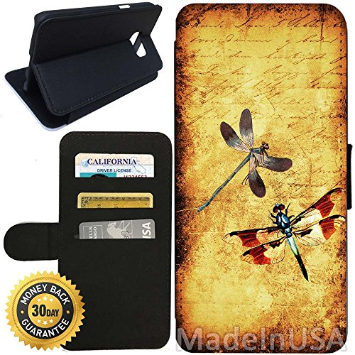 - Flip Wallet Case for Galaxy S7 (Dragonfly Dragonflies Vintage) with Adjustable Stand and 3 Card Holders | Shock Protection | Lightweight | Includes Stylus Pen by Innosub