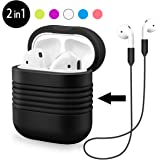 Hanlesi AirPods Case+AirPods Strap,Anti - lost Charging Box Soft Silicone Cover Accessories Non-Slip Case with Apple Air Pods Strap Wire Cable Connector for Apple AirPods
