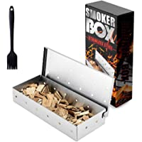 JoyRain - Caja para ahumar para parrilla de gas, acero inoxidable, caja para ahumar a gas, barbacoa para parrilla de…