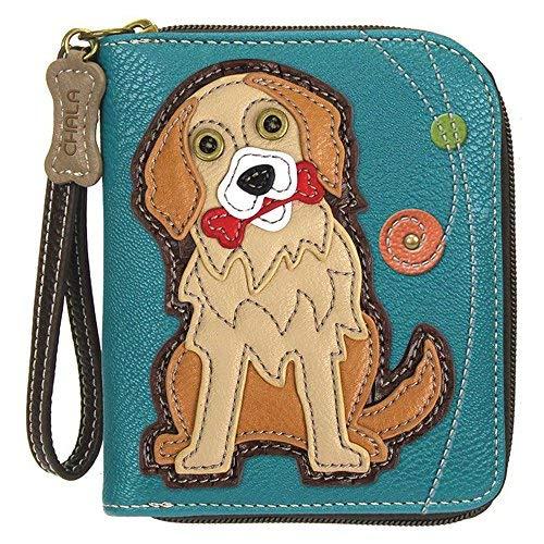 Chala Golden Retriever Zip-Around Wristlet Wallet, Dog Mom Gift