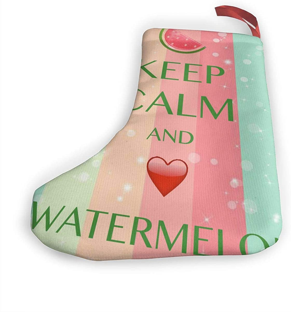 Keep Calm And Love Watermelon Santa Xmas Socks 2Pcs Set Christmas Stockings Decorations