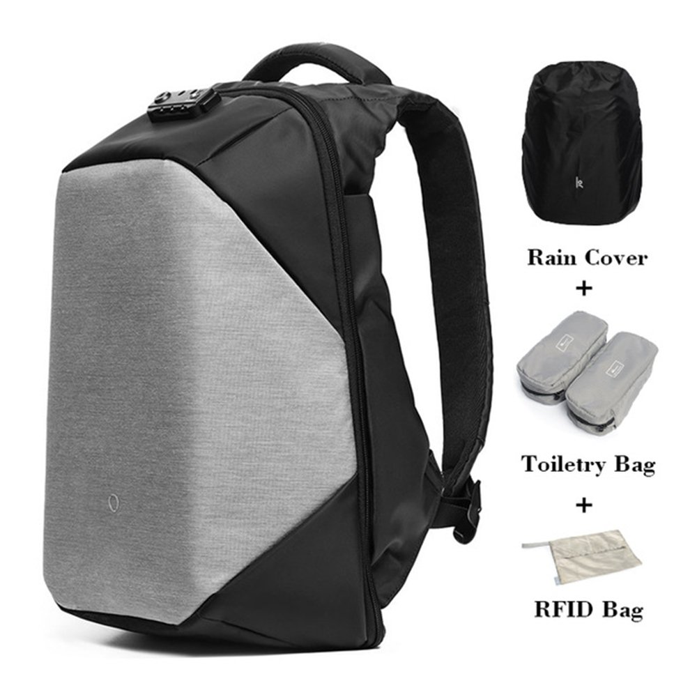 KORIN ClickPack bro -Anti Theft Travel Backpack Laptop Backpack 15.6 inch with USB Charging Port Large Capacity Waterproof TSA Business Travel Backpack Bag Friendly Smart Grey