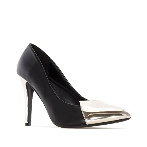 Andres MachadoAM5202Pumps in Black faux Leather with Red Patent Tip  HeelPetite and Large sizes  B073DC42PK
