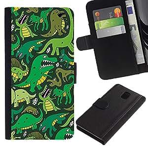 KingStore / Leather Etui en cuir / Samsung Galaxy Note 3 III / Dinosaurio verde de la historieta T Rex