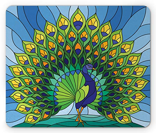 Lunarable Peacock Mouse Pad, Stained Glass Exotic Colorful Peafowl Bird with Feathers Image, Standard Size Rectangle Non-Slip Rubber Mousepad, Multicolor ()