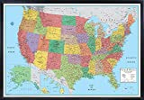 united states cork map - Swiftmaps 32x50 RMC United States USA Signature Push-Pin Travel Wall Map Foam Board Mounted or Framed (Black Framed)