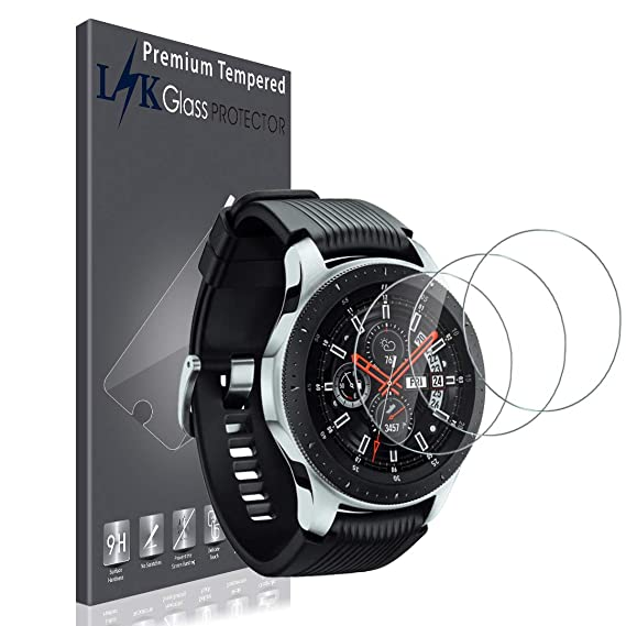 LK Protector de Pantalla para [3 Pack] Galaxy Watch (46 mm), SmartWatch Vidrio Templado [Anti-Fingerprint] HD Disipación de Densidad 9H con garantía ...