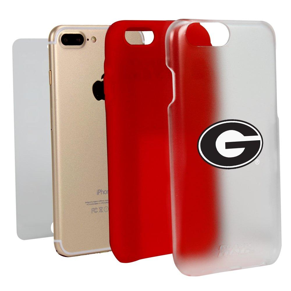 Georgia Bulldogsクリアwithレッドハイブリッドケースfor iPhone 7 Plus / 8 Plus Withガードガラススクリーンプロテクター   B01N757ZWP