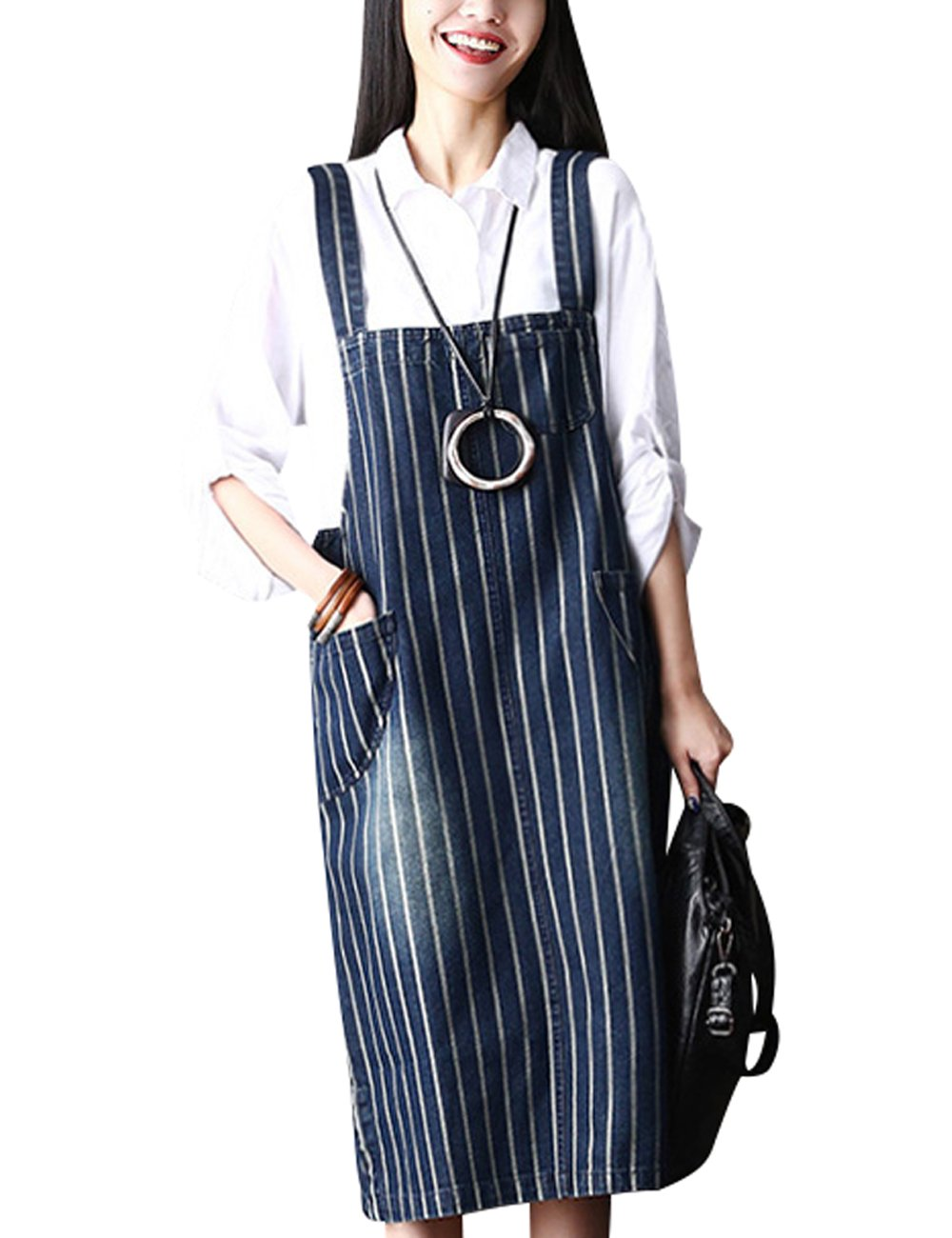 Zoulee Womens Casual Fashion Denim Jean Overall Dress with Pockets Style 1 Blue Striped