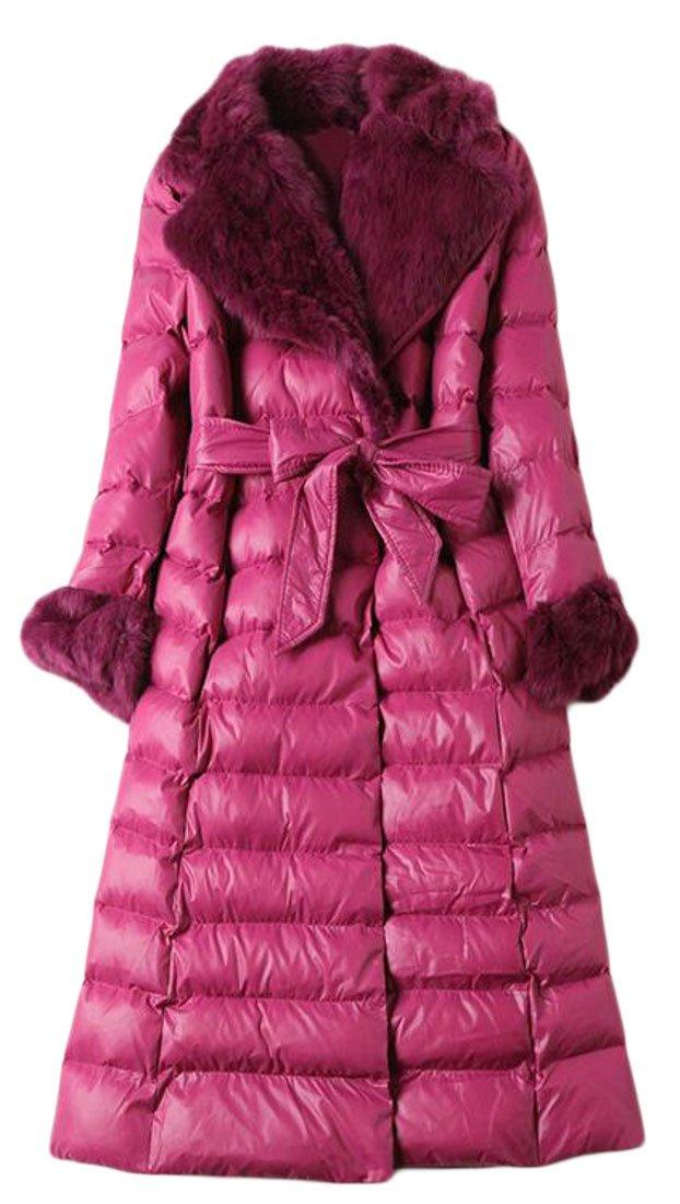 ouxiuli Women New Slim Fit Color?Block Puffer Down Coat 1 XS
