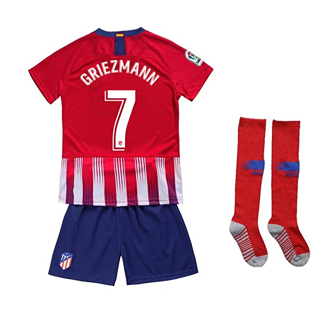 the latest 3c1e2 ecfe2 Kaner Mongkok 7 Griezmann New 18/19 Atletico Madrid Youths/Kids Home Soccer  Jersey & Shorts & Socks