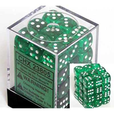 Chessex Green with White Spots Translucent 12Mm 6 Sided Dice 36 by Alliance Games: Toys & Games