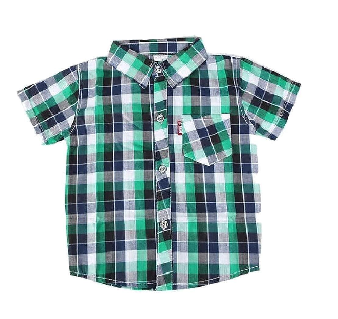 Wofupowga Boy Checkered Lapel Single-Breasted Short Sleeve Summer Shirts