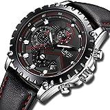 Watches Men Luxury Brand LIGE Waterproof Sport Analog Quartz Watch Mens Fashion Chronograph Black Leather Wristwatch Man Date Clock New