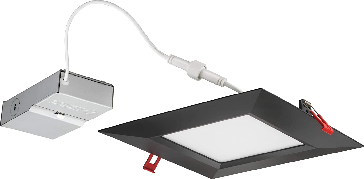5000K Black Acuity Brands Lighting WF8 SQ B LED 30K40K50K 90CRI MB M6 4000K Lithonia Lighting WF8 SQ B 30K40K50K 90CRI MB M6 LED Color Temperature Selectable Ultra Thin Recessed Downlight 3000K