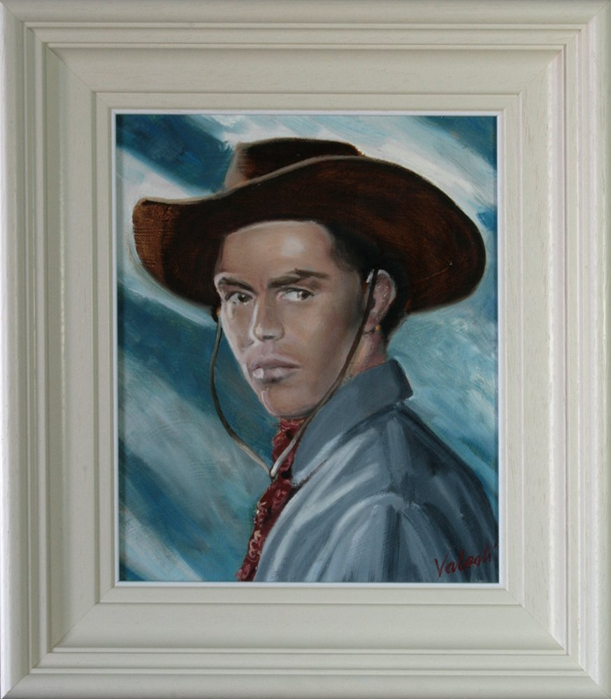 Jack Buetel as Billy the Kid - Movies on Canvas - Framed Oil Painting, Original & Unique Art from Ireland