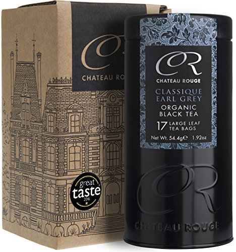Chateau Rouge - Classique Earl Grey, Organic Large Leaf Black Tea Bags Tin, 17