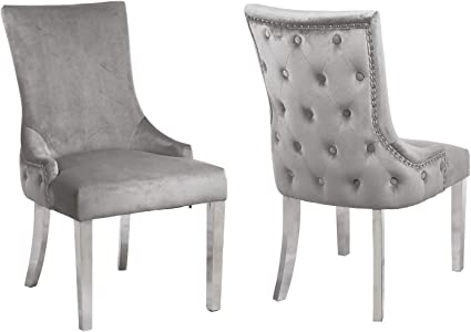 Jade Boutique Pair Of Button Back Grey Velvet Dining Chairs Amazon Co Uk Kitchen Home