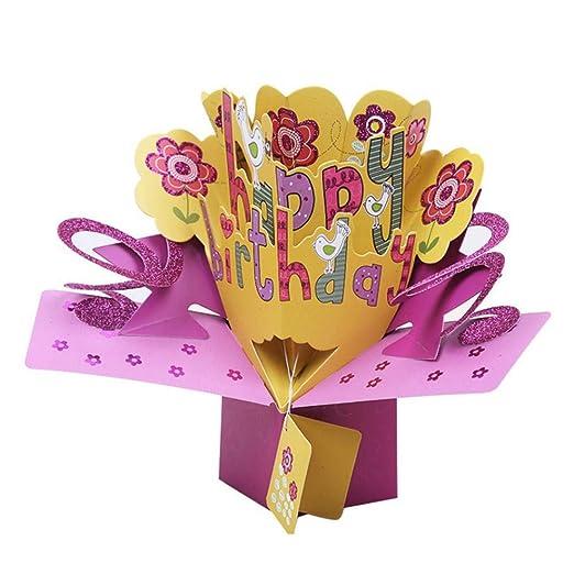 WASPEU Tarjeta de cumpleaños 3D Pop Up Tarjetas de Regalo ...
