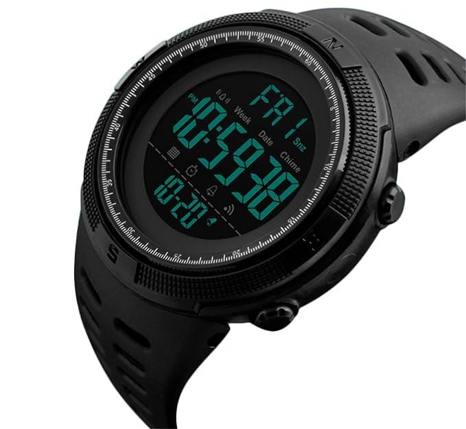 Reloj digital deportivo para hombre, diseño militar, resistente al agua, con cronómetro, alarma, fecha automática y cuenta atrás: SKMEI: Amazon.es: Relojes