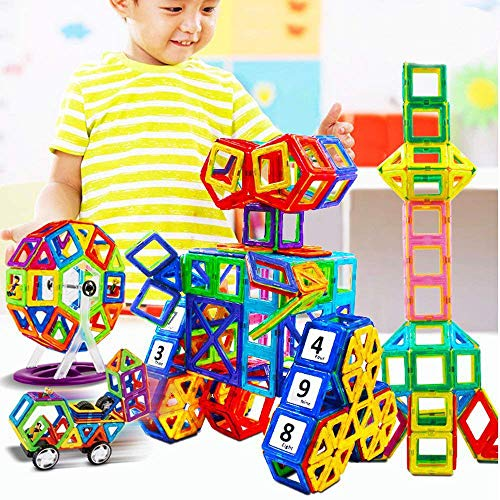 Magnetic Building Blocks - 95 pcs Large Set - 3D Educational Toys for Boys and Girls - Great for 3+ Years Old Toddlers and Kids - Tiles with Innovative Build Magnets - Great Gift for Children! by DOOLLAND