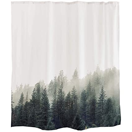 Foggy Forest Shower Curtain Misty Mountain Fabric Bathroom With Hooks Nature Trees Theme