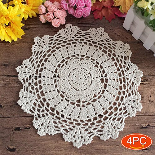 Elesa Miracle 11 Inch 4pc Handmade Round Crochet Cotton Lace Table Placemats Doilies Value Pack, Vintage, White (4pc-11 Inch White)