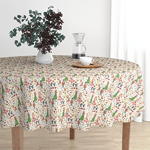 Roostery Round Tablecloth - Holiday Nutcracker Illustration Christmas Ballerina Candy Mice by Fable Design - Cotton Sateen Tablecloth 90in