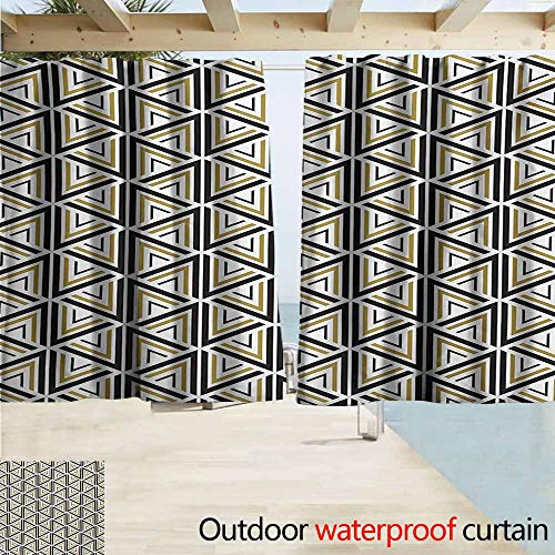Zmacdk Geometric Outdoor Curtain Modern Stylish Triangle and Diamond Repeating Line Tiling Figures Image for Patio/Front Porch W72 xL72 Mustard and Black ()