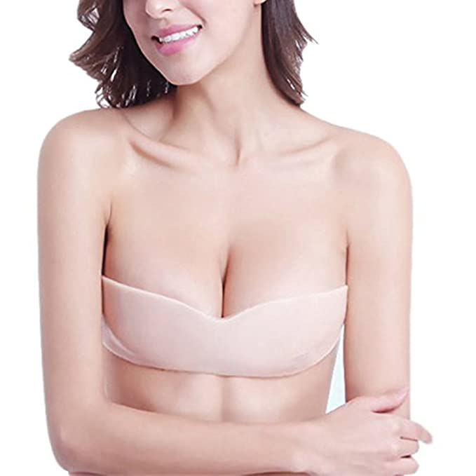 c0ac7d3a63d86 Lncropo Women s Reusable Invisible Sexy Push up Strapless Bra Adhesive  Waterproof Backless Lift Nubra-Suitable