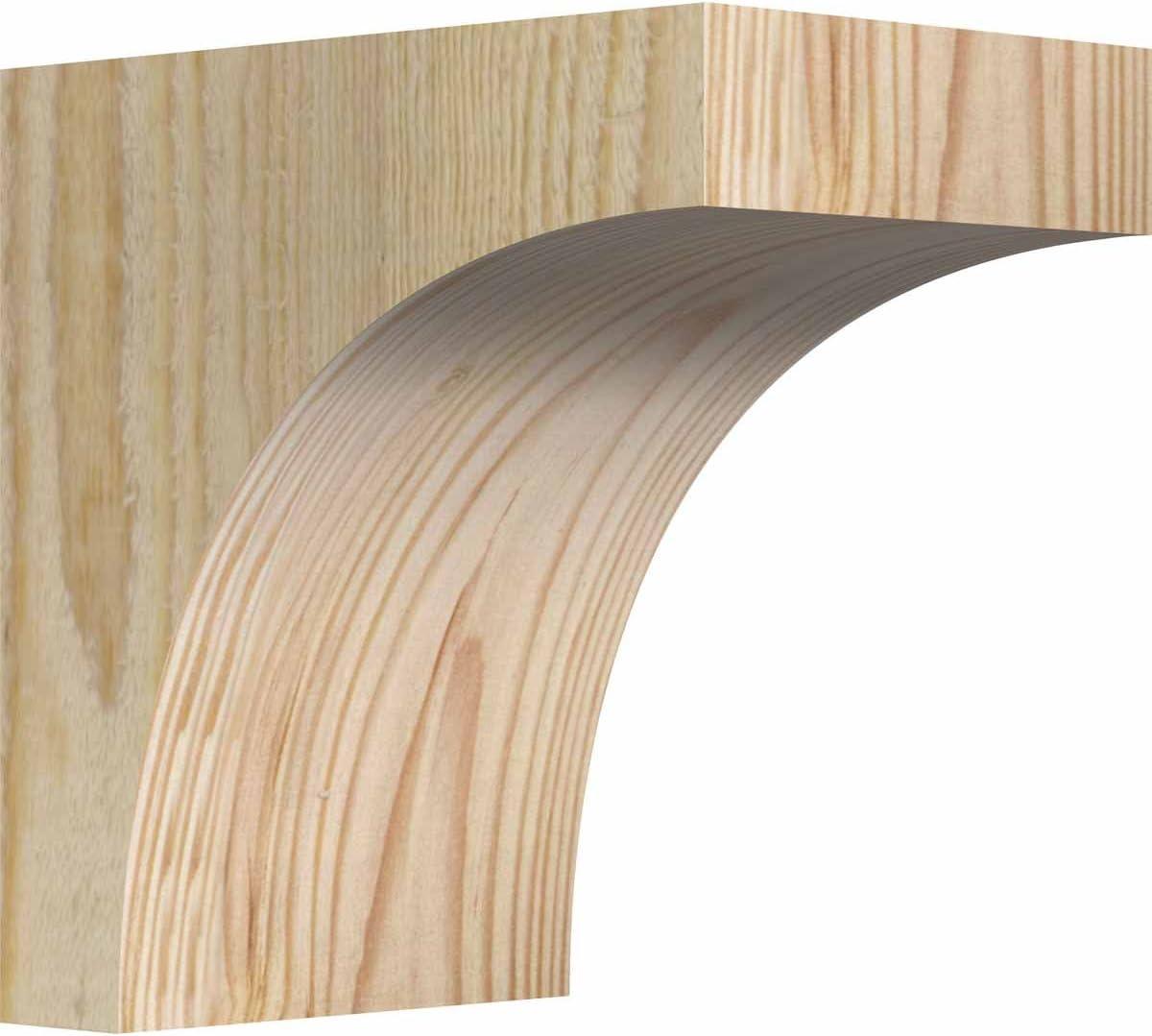 6 W Western Red Cedar Ekena Millwork COR06X06X06HUN00RWR Huntington Rough Sawn Corbel 6D x 6H