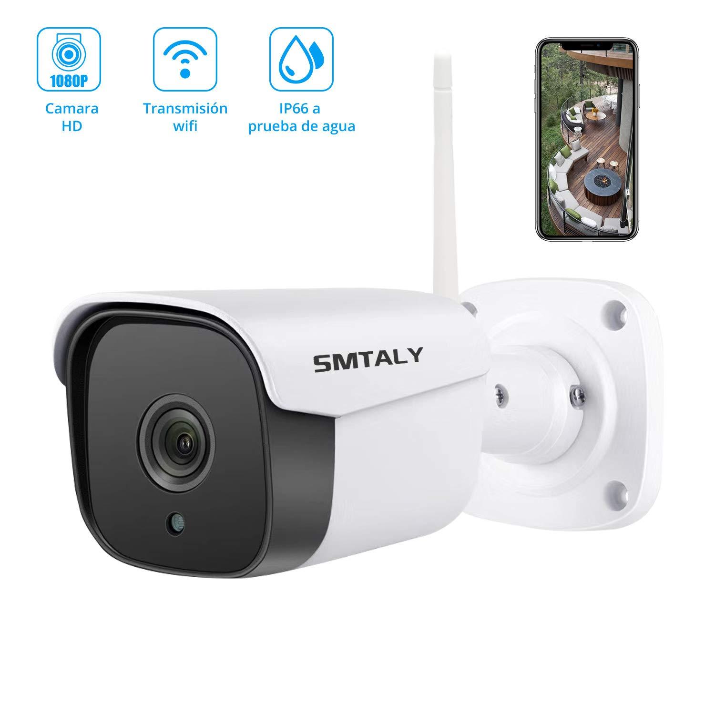 SMTALY C2 Cámara IP Exterior, 1080P IP66 Impermeable, 36 LEDs IR Visión Nocturna, Audio Bidireccional, Detección de Movimiento para Hogar/Baby ...