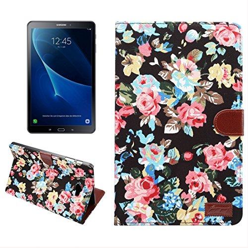 Fashion & personality Para la lengüeta de la galaxia de Samsung un 10.1 / T580 patrón de flor superficie del paño horizontal de la caja del cuero del tirón con las ranuras para tarjeta y el sostenedor Black