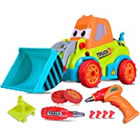 WK- Truck Assembling- STEM Toys, 25PCS, Take Apart Toy Construction Car by Kids (Over 3 Years Old) Themselves with Simulation Tool, Have Light & Sound