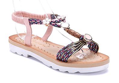 927e71e7584d06 Schuhtempel24 Damen Schuhe Sandalen Sandaletten Rosa Flach Blumenapplikation