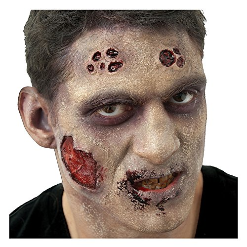 Doll Face Paint Costume (Deluxe Broken Doll Scars with Buttons Complete 8pc Makeup Kit, Red Maroon Black)